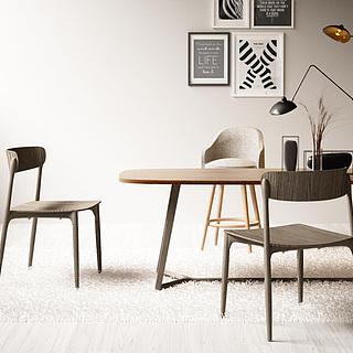 简约<font class='myIsRed'>实木桌椅</font>组合3d模型