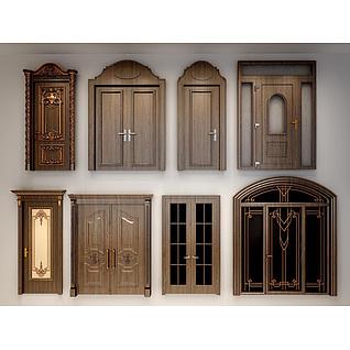 欧式实木雕花门3d模型