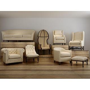时尚米色软包沙发椅组合3d模型