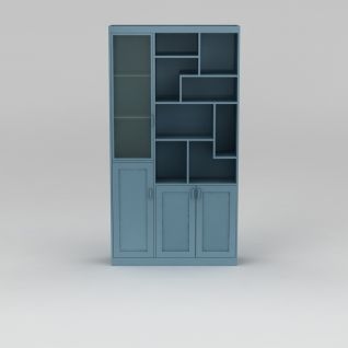 时尚蓝色边柜酒柜3d模型