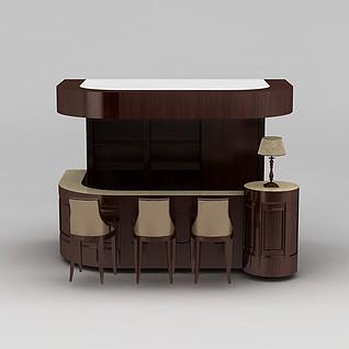 现代实木吧台吧椅酒柜3d模型