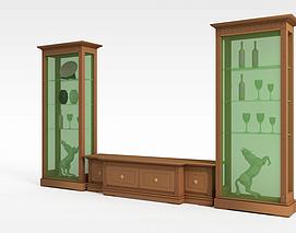大型实木酒柜3d模型
