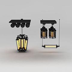 工业风铁艺吊灯射灯组合模型3d模型