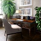 中式实木书桌椅写字台模型