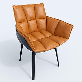 现代北欧皮质软包椅子3d模型