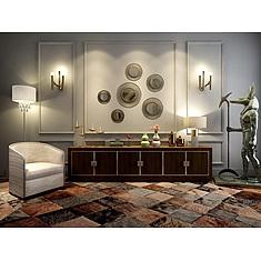 现代实木边柜沙发椅组合3D模型3d模型