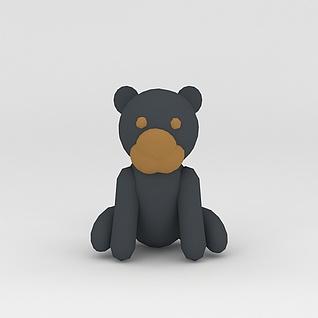 玩偶儿童玩具灰色小熊3d模型