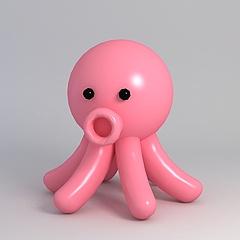 玩偶儿童玩具粉色小章鱼模型3d模型