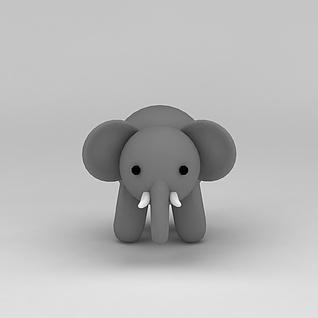 儿童玩具玩偶灰色小象3d模型