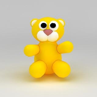 儿童玩具玩偶黄色小熊3d模型