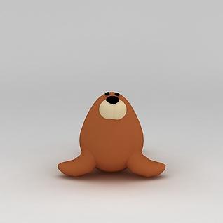 儿童玩具玩偶海豹3d模型