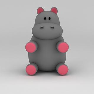 儿童玩具玩偶河马3d模型