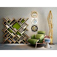 时尚格子书架休闲椅组合3D模型3d模型