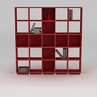 现代红色实木书柜书架3D模型3d模型