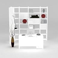 现代白色书柜书架3D模型3d模型