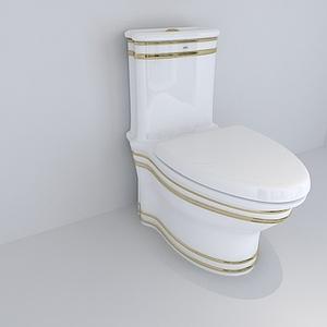 欧式金色线条装饰马桶坐便器模型