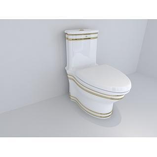 欧式金色线条装饰马桶坐便器3d模型