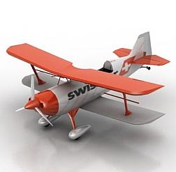 3d雙翼螺旋槳<font class='myIsRed'>飛機</font>模型