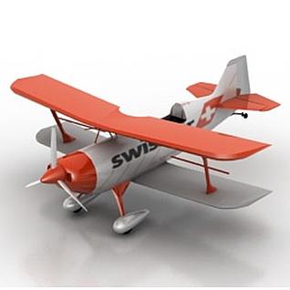 双翼螺旋桨飞机3d模型