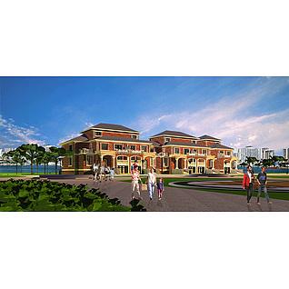 欧式别墅房屋建筑3d模型