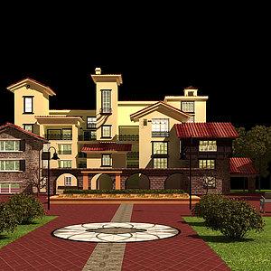 歐式建筑別墅模型3d模型