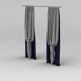现代拼色布艺窗帘模型