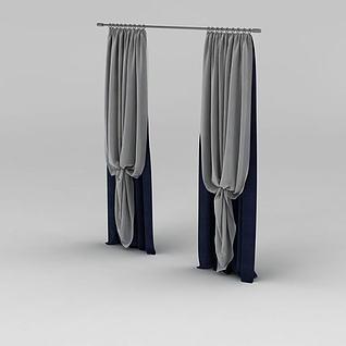 现代拼色布艺窗帘3d模型