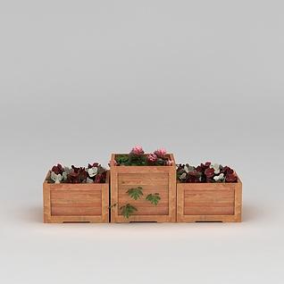 园林景观小品实木花坛花圃3d模型3d模型