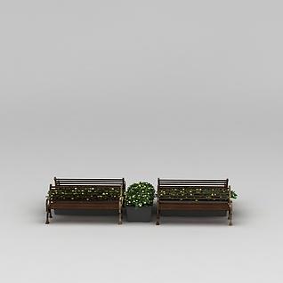 商业小品公园长椅休闲椅3d模型3d模型