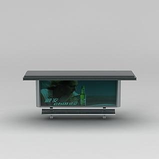商业小品公交站雨棚广告牌3d模型3d模型