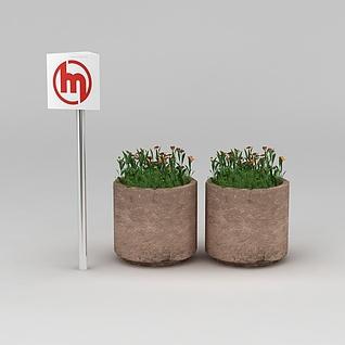 园林景观小品花坛3d模型