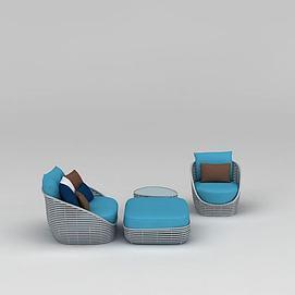 时尚藤编沙发茶几组合3d模型