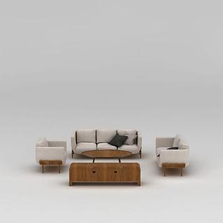 现代实木沙发茶几组合3d模型