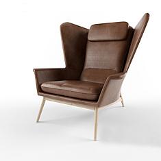 现代咖啡色皮质椅子3D模型3d模型