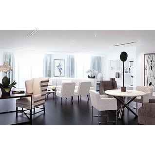 現代餐廳沙發椅子組合3d模型