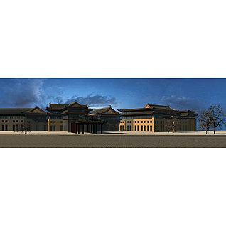 中式建筑大楼3d模型3d模型