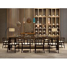 大型实木餐桌餐椅组合3D模型3d模型