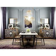 西式简约餐桌餐椅组合3D模型3d模型