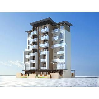 现代多层住宅楼3d模型3d模型