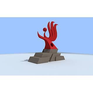 建筑标志雕塑3d模型