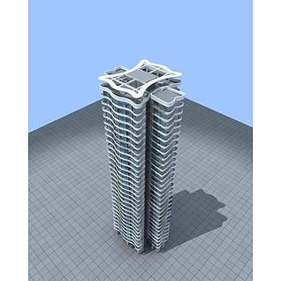 现代住宅大楼3d模型3d模型