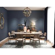 现代大理石餐桌实木餐椅组合3D模型3d模型