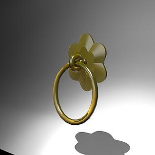 中式铜环门拉手3d模型