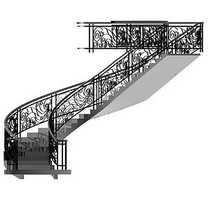 旋转豪华楼梯模型
