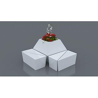 商场玻璃钢花坛花瓶3d模型