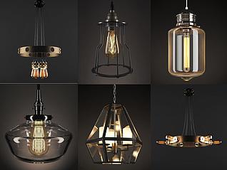 現代創意吊燈組合3d模型