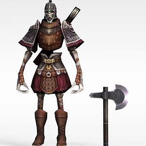 赤壁動漫游戲人物骷顱人戰士模型3d模型