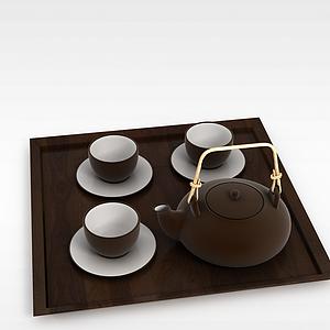 中式沙壶茶具套装模型3d模型