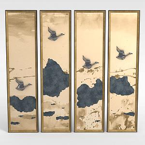 中式家具拼接背景墻模型