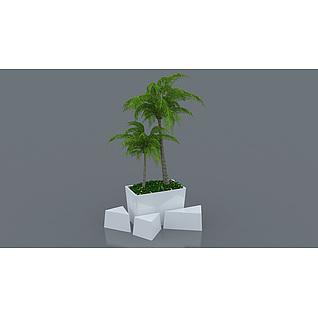 商场玻璃钢花坛花盆3d模型